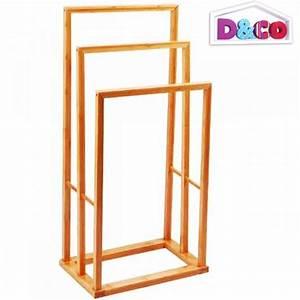Porte serviette salle de bain bambou D&CO