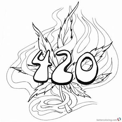 Coloring Pages Weed Tattoo 420 Sheets Printable