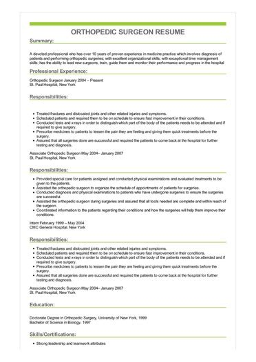 sample orthopedic surgeon resume