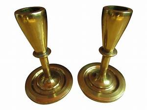 mid century modern brass candle holders a pair chairish With kitchen cabinets lowes with mid century candle holder