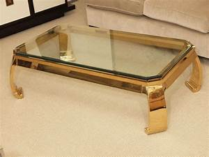 Glass top coffee table with gold frame curved legs for Glass coffee table gold frame
