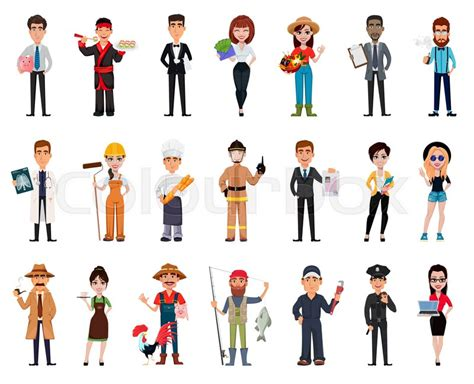 People Of Different Professions. Set Of Twenty One Poses