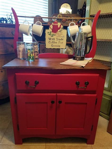One of the most space saving and cute looking additions to your home coffee stand is a floating shelf. This Old Hat, Refinish Repurpose Rebuild. Vintage wash stand, coffee bar cocoa bar   Wine theme ...