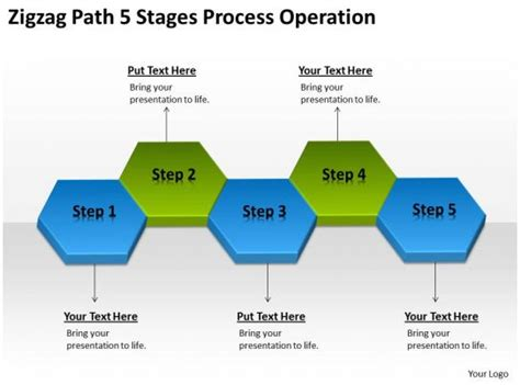 business flow diagram  zigzag path  stages process operation powerpoint