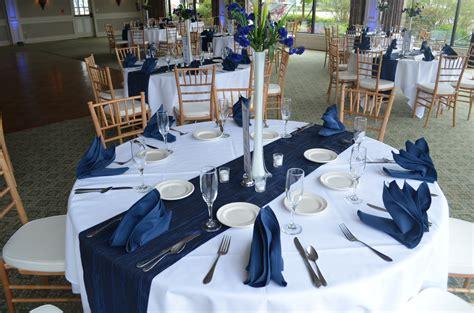 striped black and white tablecloth navy blue white buffalo wedding decor ideas gala