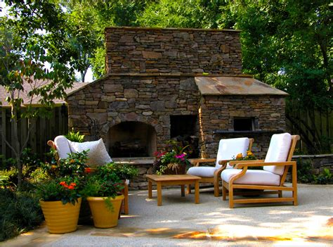 outdoor fireplace pizza oven patio traditional