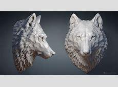 Wolf head digital sculpture 3d model MAX, STL, OBJ files