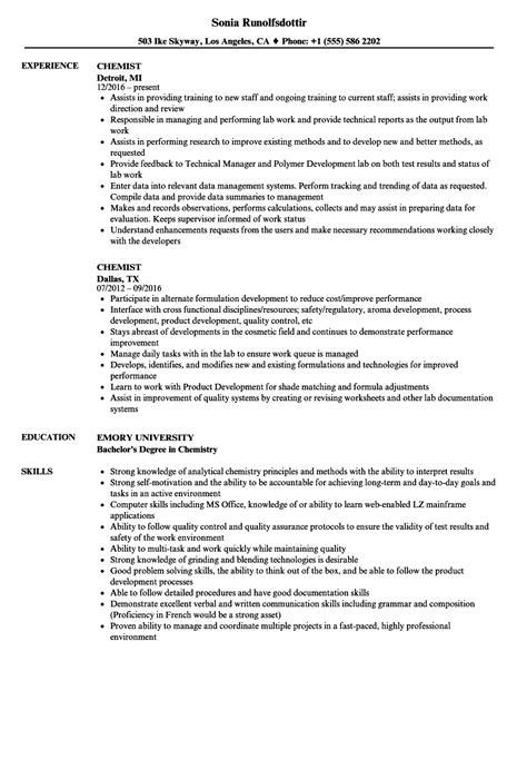Chemist Resume by Chemist Resume Sles Velvet