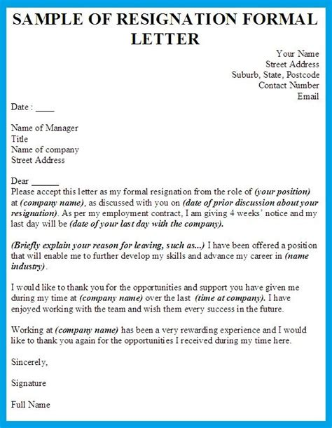 formal resignation letter template shiena pinterest