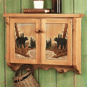 carved wood bear wall cabinet With kitchen cabinets lowes with black bear wall art