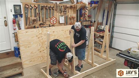 mobile workbench plywood rack lumber rack youtube