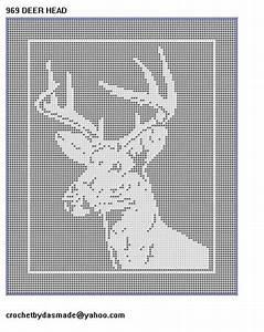 969 Deer Head Filet Crochet Doily Afghan Pattern