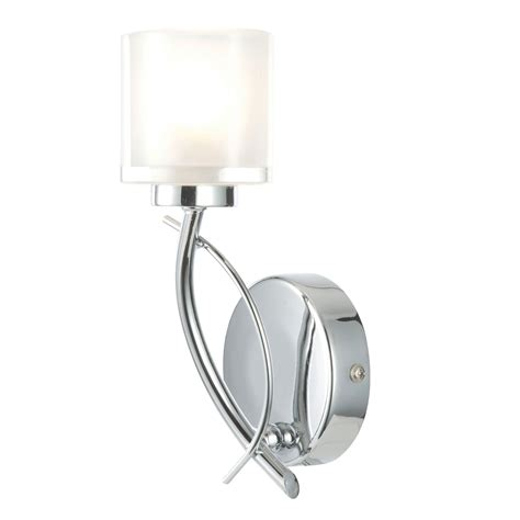 ferro frosted glass chrome effect single wall light departments diy at b q