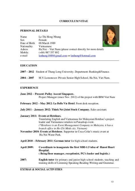 Les Resume by Cv Le Thi Hong Nhung As Of Jan 2013