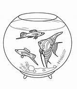Fish Coloring Bowl Tank Pet Pretty Fun Netart sketch template