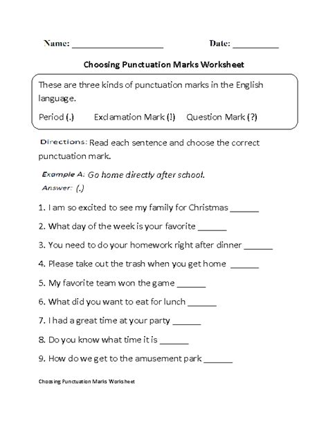 punctuation worksheets choosing punctuation marks