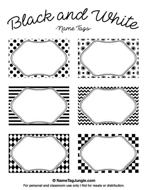 name tag template free printable printable black and white name tags