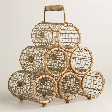 wire wine racks six bottle wire and bamboo everly wine rack world market