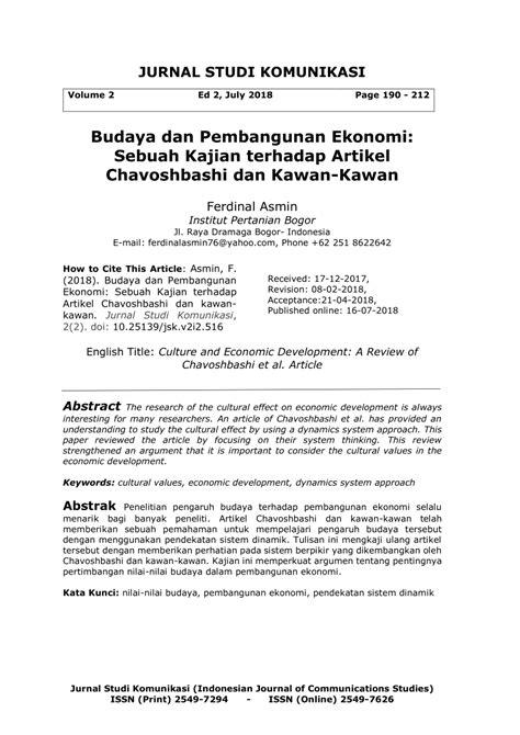 (PDF) Budaya dan Pembangunan Ekonomi