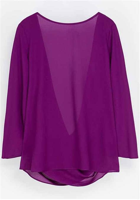 polyester blouses purple plain hollow out seven 39 s sleeve polyester