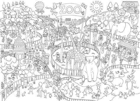 giant zoo scene poster coloring adult coloring
