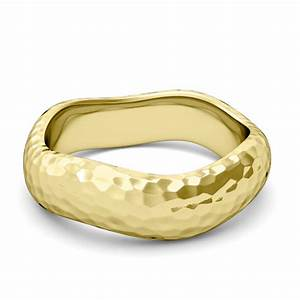 curved hammered finish wedding ring 18k gold comfort fit With curved wedding band to fit engagement ring