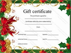 Christmas gift certificate template certificate templates for Christmas gift certificate template word