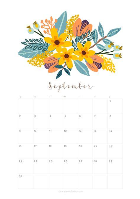 printable september  calendar monthly planner floral