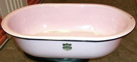 vintage pink enamelware bath wash tub baby basin sink
