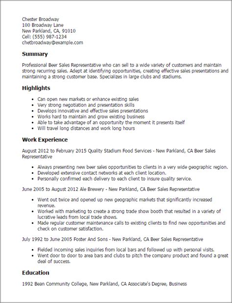 Professional Sle Sales Representative Resume by Professional Sales Representative Templates To Showcase Your Talent Myperfectresume
