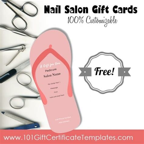 Free Pedicure Gift Certificate Template by Nail Salon Gift Certificates Free Nail Salon Gift