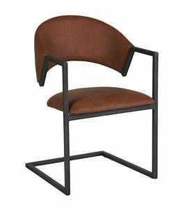 Chaise Design Metal : chaise design industriel loft cuir et m tal marron chic et pas cher ~ Teatrodelosmanantiales.com Idées de Décoration