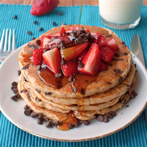 chocolate chip oatmeal pancakes  strawberries