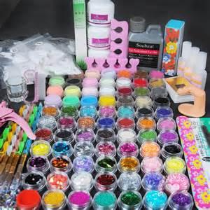 Professional Acrylic Liquid Powder Glitter Clipper Primer File Nail Art Tips Tool Brush Tool Set Kit wholesale