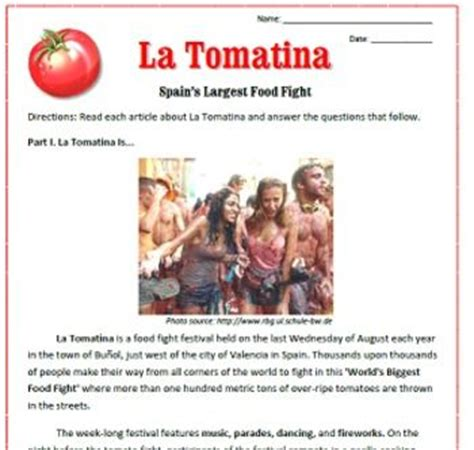 emergency plan la tomatina reading passages emergency sub plan great