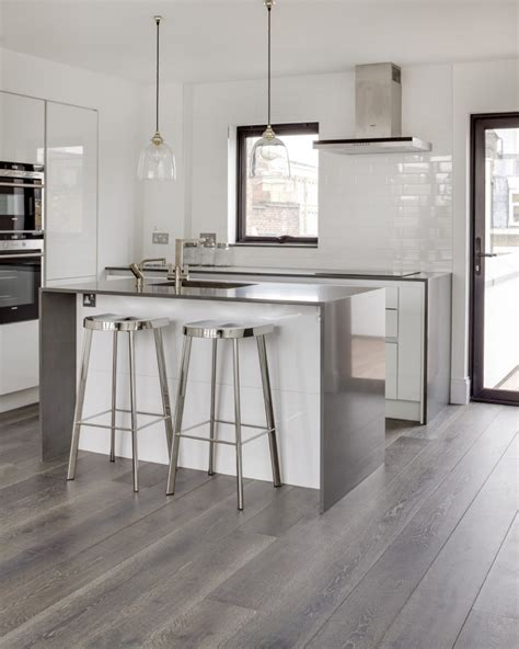 gray kitchen cabinets with hardwood floors bespoke grey wood flooring real solid oak