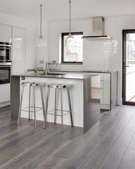 grey kitchen cabinets wood floor bespoke grey wood flooring real solid oak