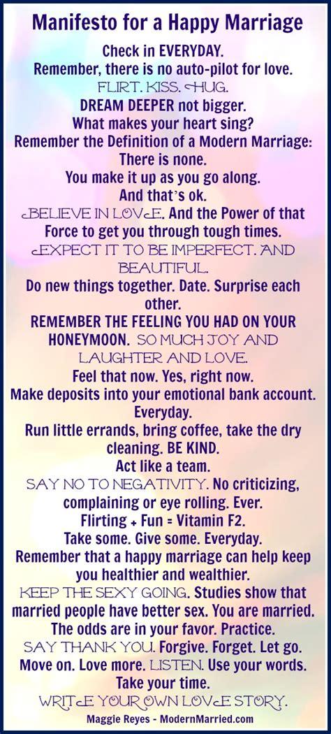 manifesto   happy marriage  ways    love