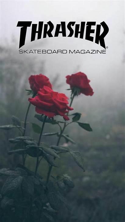 Thrasher Wallpapers Aesthetic Roses Skateboard Skate Paper