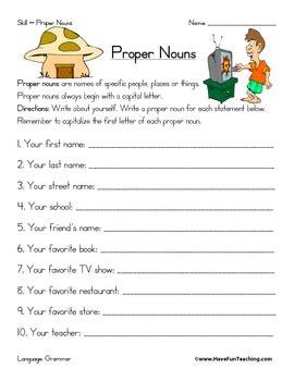 Proper Noun Worksheet By Have Fun Teaching  Teachers Pay Teachers