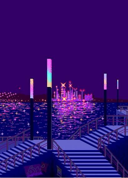 8bit Pixel Neon Purple Paradise Aesthetic Night