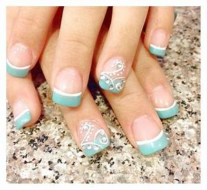 Blue+French+Manicure | Detail Of Charming Blue French ...