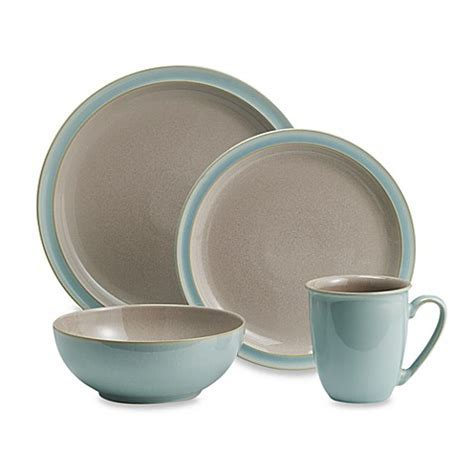 Denby Duets 4 Piece Place Setting in Taupe/Blue   Bed Bath