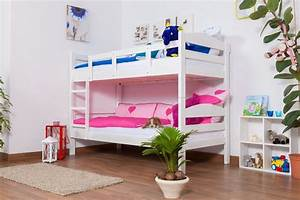 Etagenbett Weiß Massiv : etagenbett stockbett easy sleep k3 n buche vollholz massiv wei lackiert ma e 90 x 200 cm ~ Indierocktalk.com Haus und Dekorationen