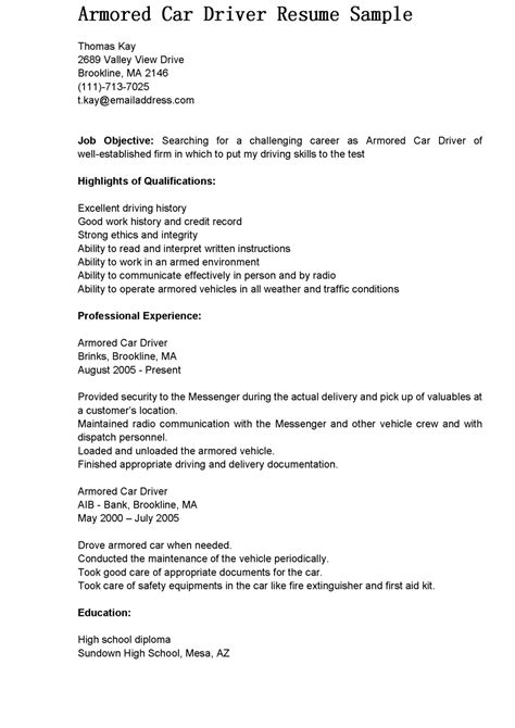 Driver Description Resume by Driver Resumes Armored Car Driver Resume Sle