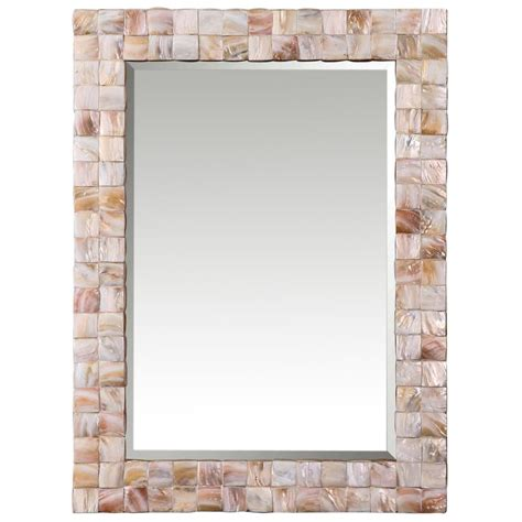 rectangle wall mirrors june coastal pink of pearl framed mirror
