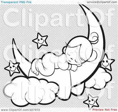 Moon Sleeping Crescent Coloring Outline Stars Clipart