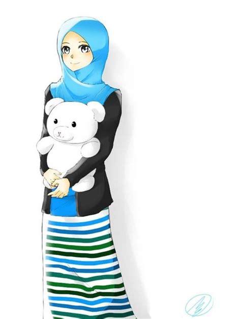 kumpulan gambar kartun wanita muslimah comel katakanid