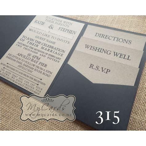a6 pocketfold with kraft inserts wedding invitation 315