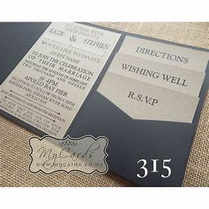 A6 pocketfold with kraft inserts wedding invitation 315 for Pocketfold wedding invitations nz